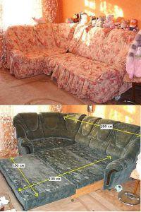 Покрывало на угловой диван из старого пледа
