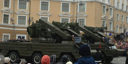 Center of Vladivostok on the occasion of the Victory Day parade rehearsal will block