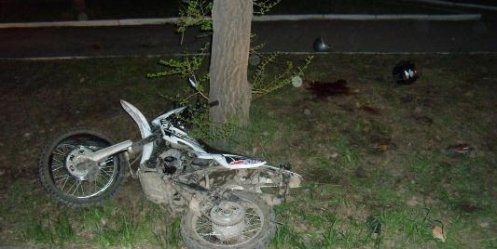 In Primorye mopedist died, crashing into a tree at night